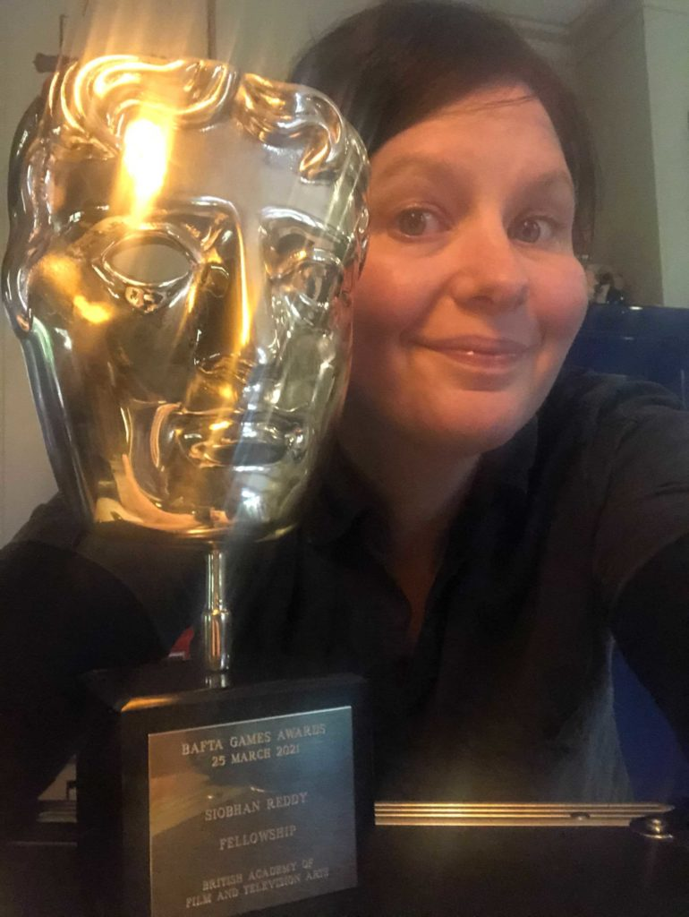Siobhan Reddy with her BAFTA Fellowship mask!